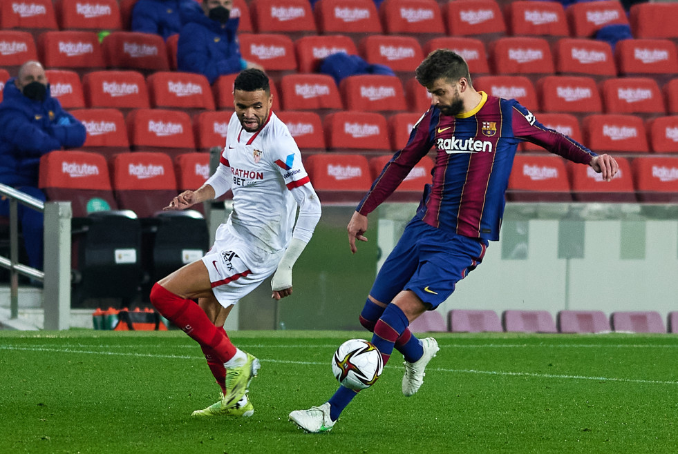 03 March 2021, Spain, Barcelona: Barcelona's Gerard Pique in action during the Spanish Copa del Rey (King's Cup) semi-final 2nd leg soccer match between FC Barcelona and Sevilla FC at Camp Nou. Photo: