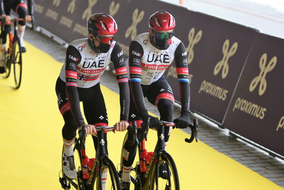 Sven Erik Bystrom and Alexander Kristoff of UAE Team Emirates during the UCI Ronde van Vlaanderen - Tour des Flandres 2021, cycling race, Antwerp - Oudenaarde on April, 4, 2021 in Oudenaarde, Belgium