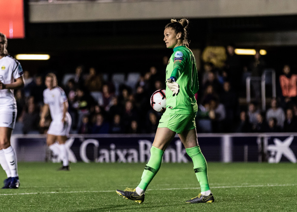 Archivo - Sandra Paños, #1 of FC Barcelona  during the UEFA Women's Champions League, first leg, match between FC Barcelona  and LSK Kvinner FK at Palau Blaugrana, in Barcelona, Spain. March 20, 2019