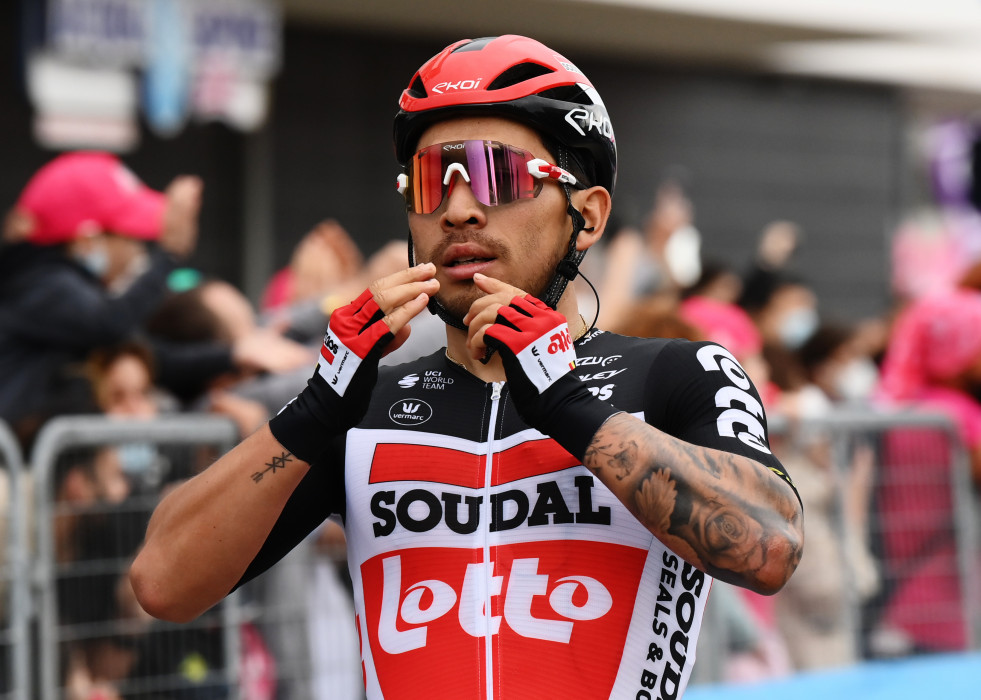 Australian cyclist Caleb Ewan of Team Lotto-Soudal celebrates as he crosses the finish line to win the seventh stage of the 104th edition of the Giro d'Italia cycling race, a 181 km Flat stage from No